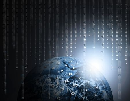 Binary Data Code Raining on Earth or Globe Stock Photo - 3500539