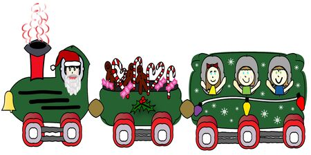 Christmas Choo-Choo Train Illustration illustration