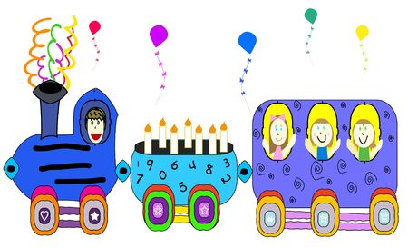 Illustration of colorful party train, suitable for birthday illustration