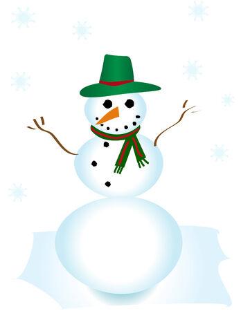 Vector Snowman in the Snow Stock Vector - 3618923