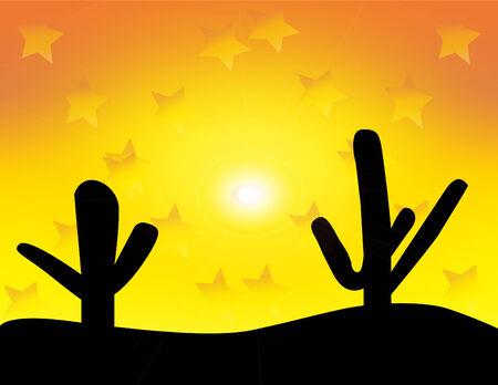desert sunset: Vector Western Desert Sunset Illustration