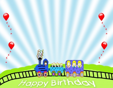 Birthday train background