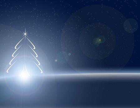nightime: Christmas tree in winter illustration