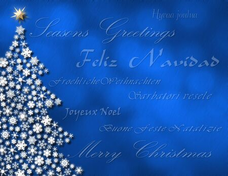 feliz: Merry Christmas in 7 different languages on winter background