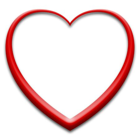 3d red heart on white Stock Photo