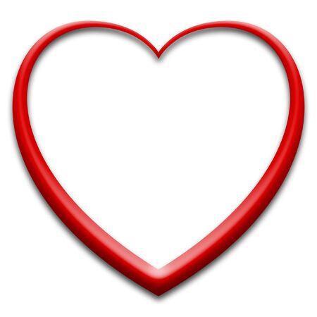 3d red heart on white Stock fotó