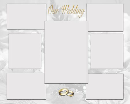 Gold collage of wedding pictures background