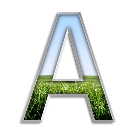Capital letter A made of grass & blue sky