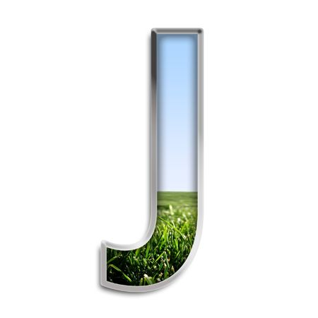 silver grass: Capital letter J made of grass & blue sky