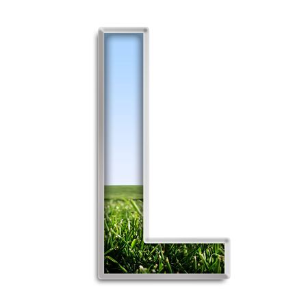 Capital letter L made of grass & blue sky Stock Photo - 4264015