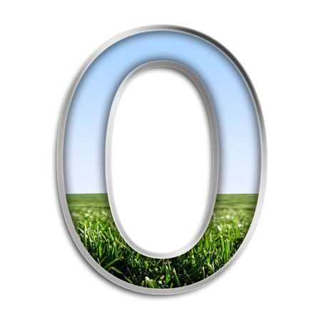 Capital letter O made of grass & blue sky Stock Photo - 4264021