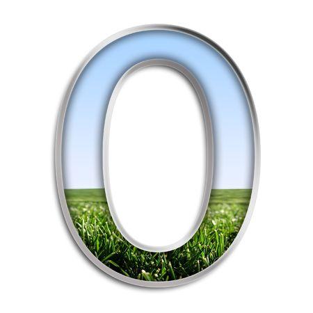 grass: Capital letter O made of grass & blue sky
