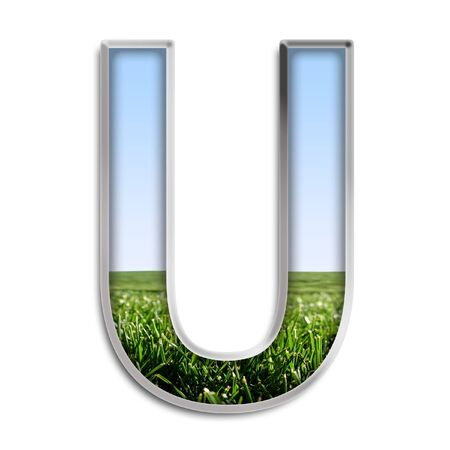 letter u: Capital letter U made of grass & blue sky