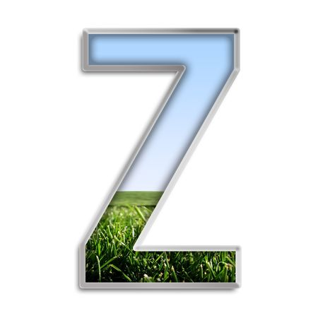 silver grass: Capital letter Z made of grass & blue sky