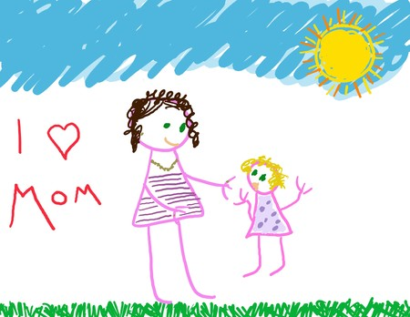 I love Mom drawing of mom & daughter Stock Photo - 4577220