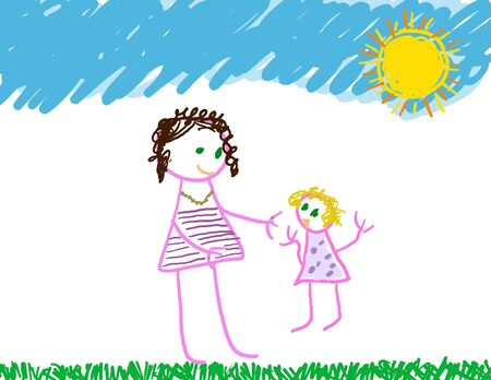 Girl adult helping young little girl Stock Photo