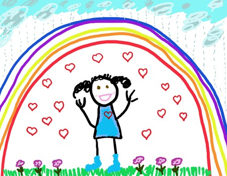 shielded: Concept drawing of little girl shielded from the rain by her rainbow