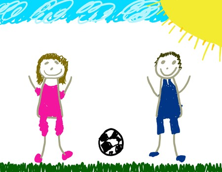 Happy girl and boy playing soccer Stock Photo - 4577218