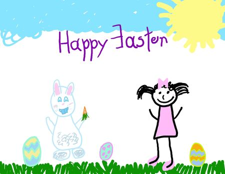 Little girl with the Easter bunny Stock Photo - 4577217