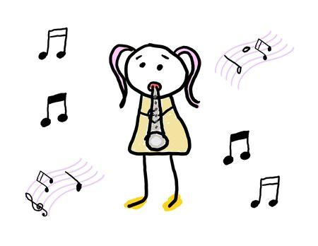 그녀의 악기를 연주를 배우는 어린 소녀
