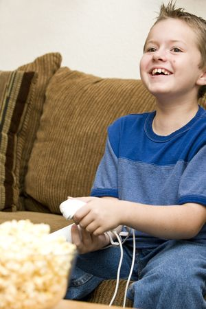 Happy playing video games Stock Photo - 5176681