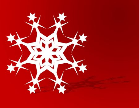 Christmas snowflake on red with plenty of copyspace Stock Photo - 5273218