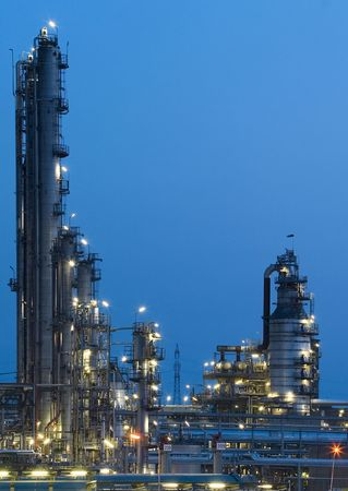 This is a big oil-works in night ligths. Stock Photo