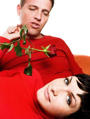 bewonderen: Jong paar heeft een datum.