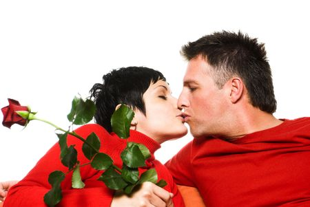 Young couple is having a date. They are kissing each other. Stock Photo - 428196