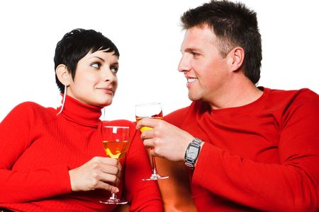 Young couple is having a date and they are drinking wine. Stock Photo - 428189