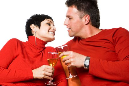 Young couple is having a date. They are drinking wine. Stock Photo - 428188