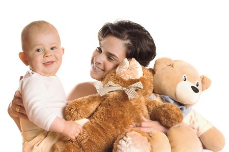 Mother and her baby son are playing together with teddy bears. Stock Photo - 436450
