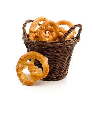 nutriments: A healthy breakfast: a tidy full of tasty pretzels. Stock Photo
