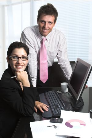 Young businesspeople are working on computer. Stock Photo - 548624
