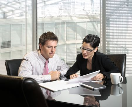 Young and good-looking business people are working in the meeting room. Stock Photo - 830457