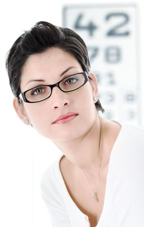 diopter: Beautiful young woman wears trendy glasses.