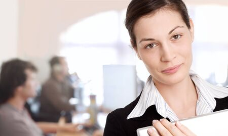 Young businesswoman with IT-specialists working in the background. Stock Photo - 1414178