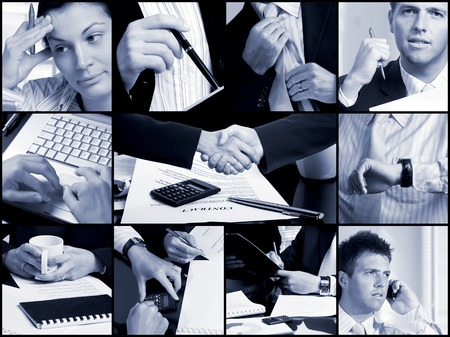 Conceptual image-grid of business photos: hands. photo