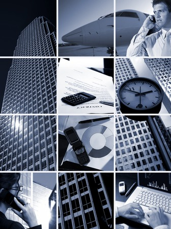 Conceptual image-grid of business photos: Time is Money photo