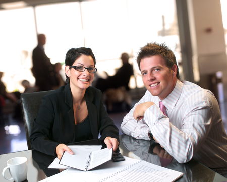Consultation in the lobby on the bank. Stock Photo - 1414137
