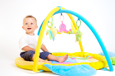 One year old baby boy enjoys playing with toys. Studio Shot. All toys visible on the photo are officialy property released. Stock Photo - 1431865