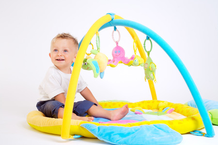 One year old baby boy enjoys playing with toys. Studio Shot. All toys visible on the photo are officialy property released. Stock Photo - 1431866