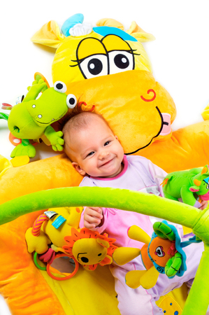 8 months old baby girl enjoy playing with soft baby toys. Studio shot. All toys visible on the photo are officialy property released. Stock Photo - 1422545
