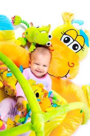 8 months old baby girl enjoy playing with soft baby toys. Studio shot. All toys visible on the photo are officialy property released. Stock Photo - 1431961
