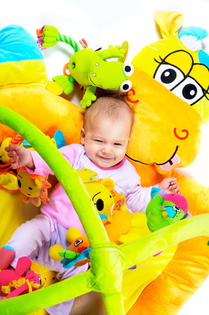 8 months old baby girl enjoy playing with soft baby toys. Studio shot. All toys visible on the photo are officialy property released. Stock Photo - 1414245
