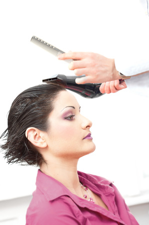 Beautiful young woman gets a hairdo in the beauty-shop. Stock Photo - 1414404