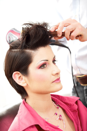 Beautiful young woman gets a hairdo in the beauty-shop. Stock Photo - 1414210