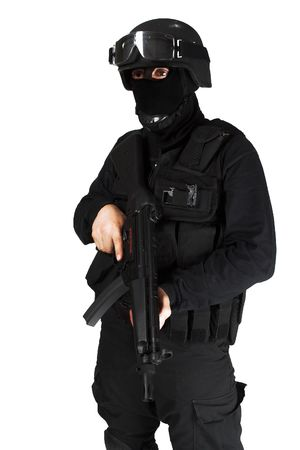 Special force soldier in black tactical suit.
