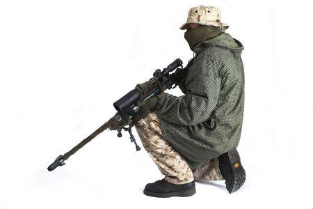Sniper is wearing a desert uniform and an anti-IR cloak. photo