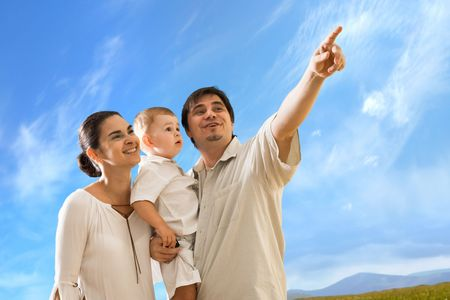 2 years old: Happy family with 2 years old  boy outdoor. Stock Photo